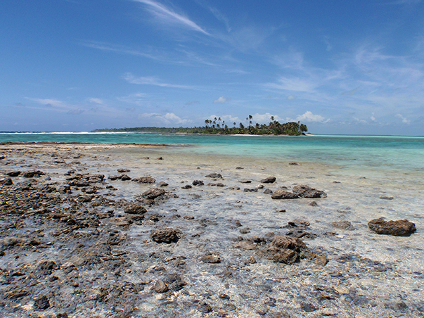 The clear water of Cocos Keeling in the Indian Ocean