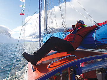 Erik relaxing as Quijote passes through the Peltier Channel after visiting Port Lockroy.