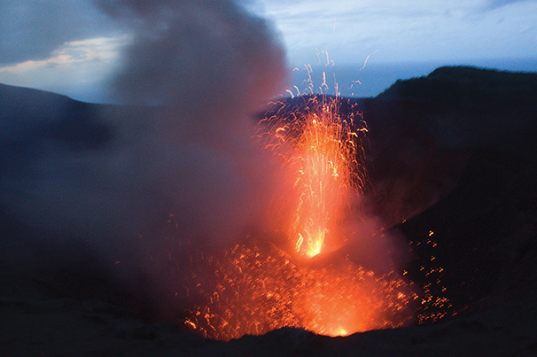 "By day,the""smoak"" acts like a beacon, by night, the glowing lava on Mount Yasur lights up the sky"