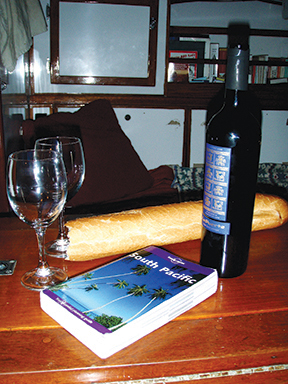 Wine and baguette in the South Pacific