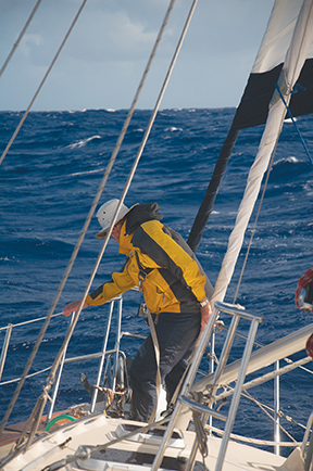 Checking the status, the author on the foredeck