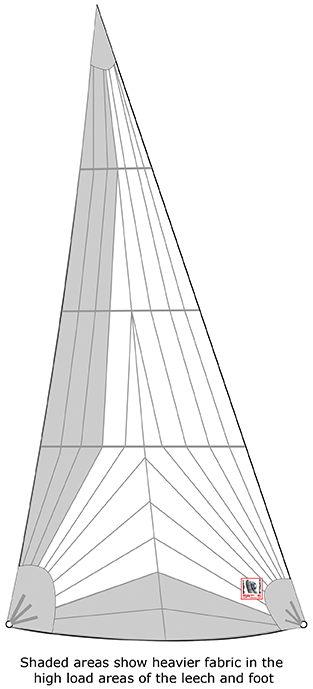 Tri radial genoa. The shaded areas show heavier fabric in the high load areas of the leech and foot
