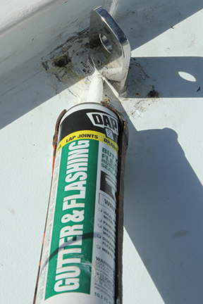 Butyl caulk is  a perfect sealer for chainplates and mechanical swages.