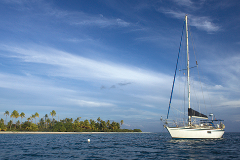 The white fender is one of three that buoys Namani's anchor chain, keeping it above coral heads