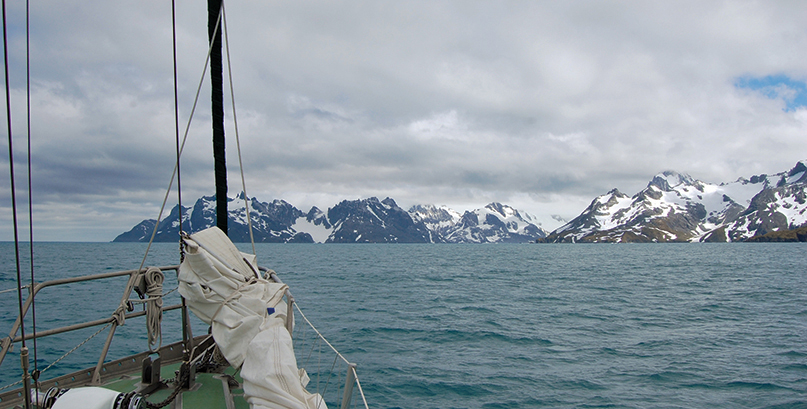 Drygalski Fjord at the southern tip of the island, where the most dramatic terrain is found