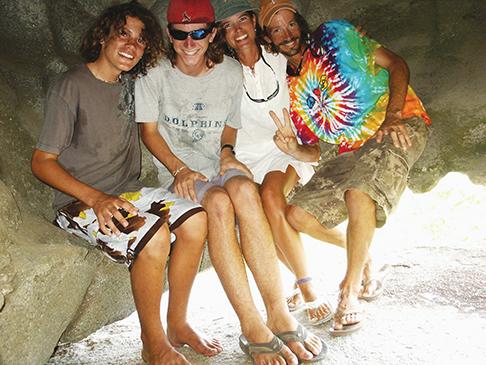 The McBride family in a cave, Virgin Gorda
