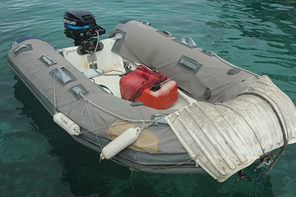 Putting all of the armor ideas together, this dinghy looks like it's ready for a bullfight!