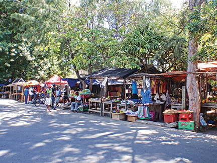 One of the streetside fresh markets in Port Mathurin