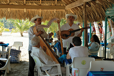 This roaming Mariachi band featured a harp
