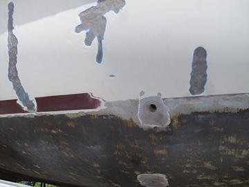 Thru-hulls were faired flush to the hull