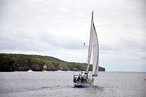 Namani sailing along the coast of Niue
