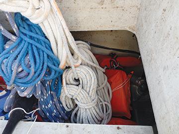 Life vests buried deep in a locker