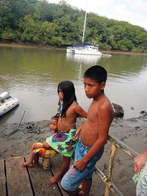 Lying at anchor on the Rio Sambu near the Embera village.