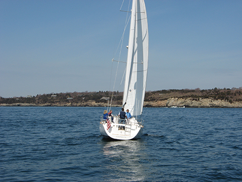 Sailing in light air with an open leech on the jib and a closed leech on the main. Need to ease the main to match the jib