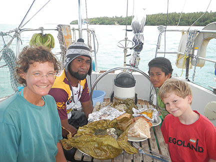Freddy treats the crew of Namani to an unforgettable Tongan feast