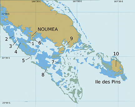 Map Key:   1  Ilot Maitre  2  Ilot Mbe Kouen  3  Ilot Laregnere  4  Ilot Signal  5  Phare Amedee  6  Ile Uere   7  Ilot Mato  8  Ilot Kouare   9  Baie de Prony 10  Ile des Pins