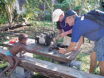 Repairing the school generator, Vanuatu
