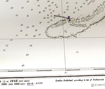 Figure 3. Section of the latest printed edition of BA chart 1881, hand corrected by Captain's Nautical in Seattle, an official BA chart distributor. The correction is dated in the bottom left with the notice number. The BA RNC of this chart, on the other hand, has the light removed, which shows the value of official RNC. Soundings in fathoms.