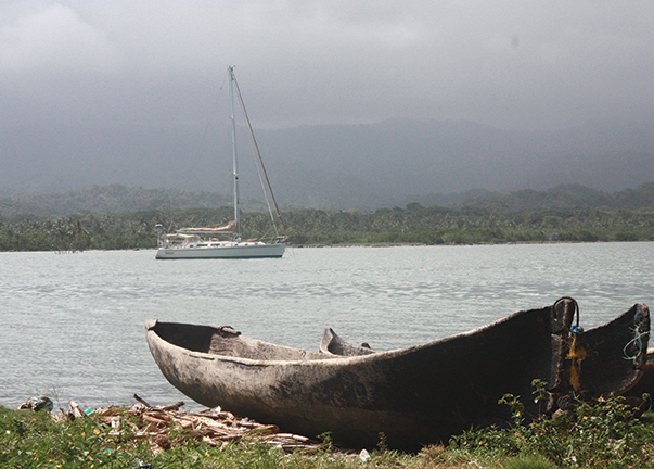 Making it all worthwhile, the author's Outbound 44, Georgia in the San Blas Islands