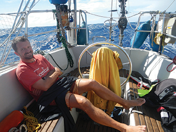 Drying out after a squall, underway from Maupiti to Suwarrow