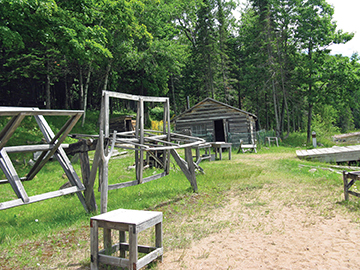 Manitou Island fishing camp, a free informative guide tour is available here