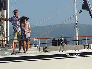 Ben & Eliza onboard their Nauticat 43, Three Rivers