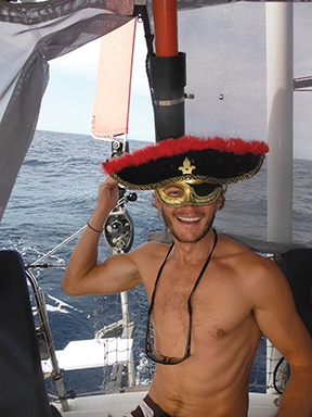 Captain Will on the equator crossing