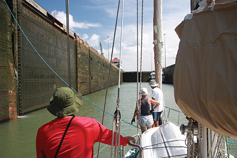 Entered into the locks, lines attached and awaiting the fill