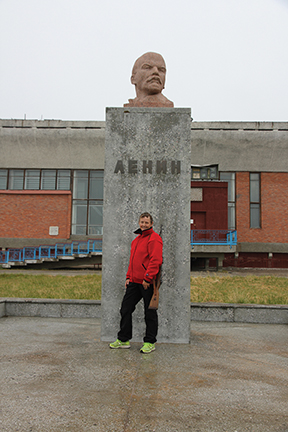 The author in front of the northernmost stature of Lenin