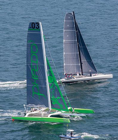 At the start of the Transatlantic Race, Phaedo3 and Paradox