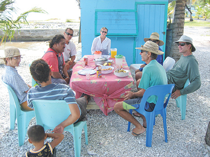 Lunch at Rio and Kula's house with the crews of three yachts
