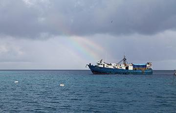 The supply ship Lady Moana which calls twice a year at Suwarrow
