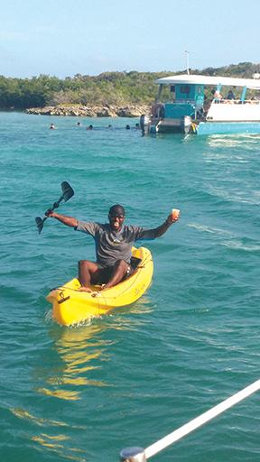 Kayak man with rum drinks