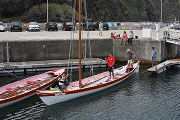Azorean sailing whaling boat preparing for an afternoon sail