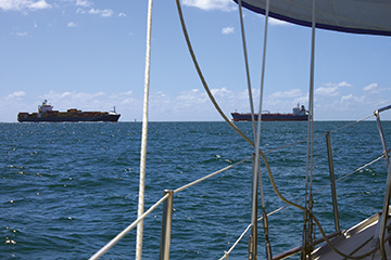 Ships waiting to off-load coal at Abbott Point