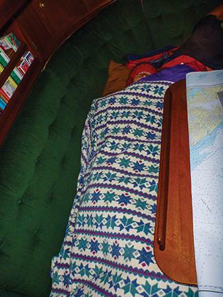 Tucked into the sleeping bag in the gulf of Alaska