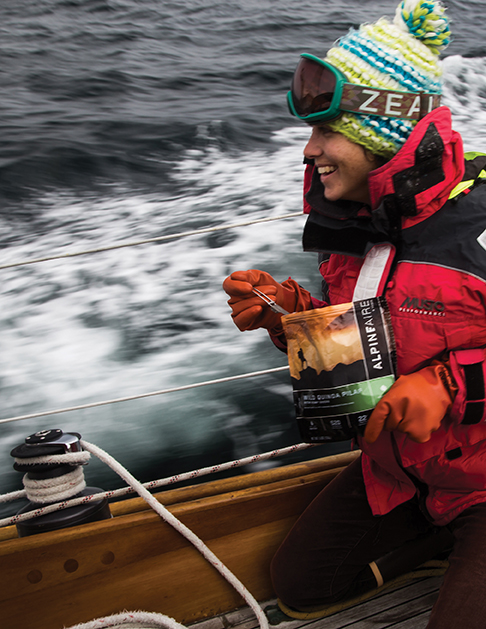 4,5 & 6 AlpineAire meal, fishermens gloves and ski goggles on a passage to the Arctic