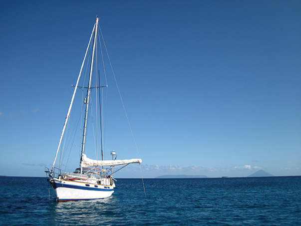 At anchor after arriving in Tonga