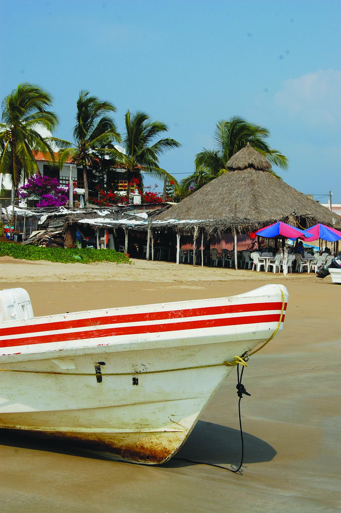 A-panga-on-the-beach-at-Chamela-Bay