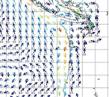 HYCOM current predictions for the NW coast. These deep ocean model computations have some coastal affects included, but they are not dependable for nearshore coastal currents. The presentation shown here is from the commercial WeatherNet service and Grib Explorer available from ocens.com.