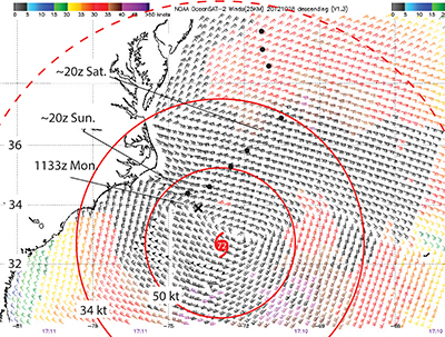 Figure 3.Satellite wind measurements at 1710z  on Sunday, Oct 28, 2012. For comparison, the 72-hour forecasted location of the storm for that time made four days earlier on Thursday is shown, along with the 34-kt wind and 50-kt wind radii.     The 50-kt wind field was very well forecasted, and for the most part the 34-kt winds as well. But there were large regions of the ocean beyond that 34-kt radius that had winds well above 34-kt, which shows the value of the 1-2-3 Rule. That rule at 72 hours off calls for a large clearance in such a large storm. For storms within the tropics the 34-kt wind range might not be as large, so maneuvering options could be better, but tropical storm sizes do vary significantly within the tropics.     The NHC website publishes the 1-2-3 Rule boundaries for all storms they track, so watching these online is a good way to get a feeling for how they evolve.     The satellite data here are from the Indian scatterometer OceanSat2 (OSCAT). The European instrument ASCAT is a primary source for this type of data, but it did not have a pass at this time. The sections it did show confirm that the winds were at least as strong as shown here. We have made a link to all of the scatterometer data along with a convenient way to get ASCAT winds by email at www.starpath.com/ascat.