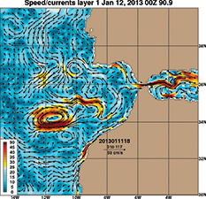 Figure 6. US Navy HYCOM data showing a prominent eddy SW of Gibralter that would not have been expected  based on  any climatic data from the past. This type of picture is readily available online