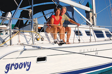 Mark and Emily Fagan with our boat Groovy