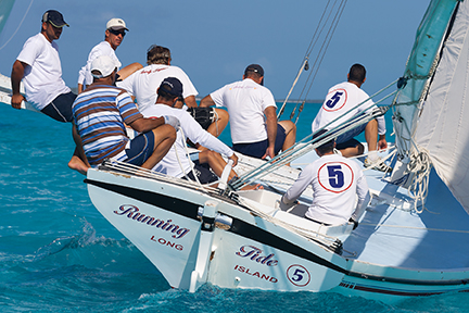 A Class Boat Running Tide, winner of the 2000, 2002 and 2004 National Family Island Regatta, in action.