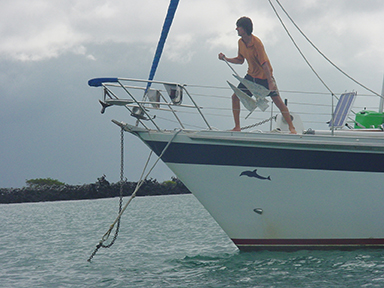 Top photo: masthead forestays would be comforting, at least three reefs are wanted for the mainsail. this image: keep multiple anchors for safety
