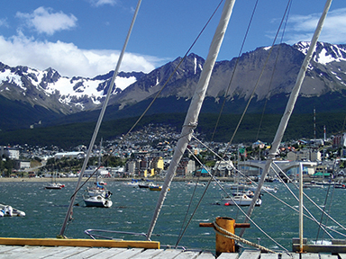 A view of Ushuaia Bay from the Nautical Club dock during a windy day spent waiting for a good forecast.