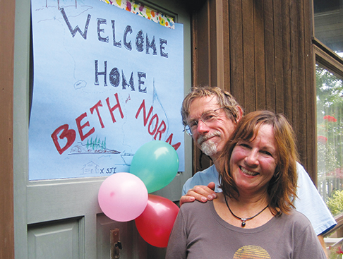 A wlecome sign greeted us on the door of Mayneport, the beautiful Mayne Island seaside home of Beth's mom, Sally. Friends, neighbors and congratulatory champagne were waiting inside.