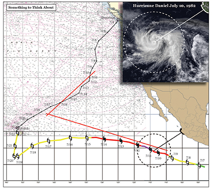 What was going on south of us. There is always something to think about on an ocean passage, but we had a bonus on this one. From July 12th onward, we had the threat of Hurricane/tropical storm Daniel.