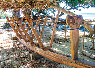 A sailing canoe being built on Panapompom