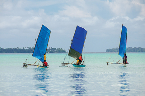 Light air is not a problem for the sailing canoes at Ninigo